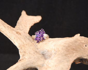 Sterling Silver Amethyst Cluster Ring