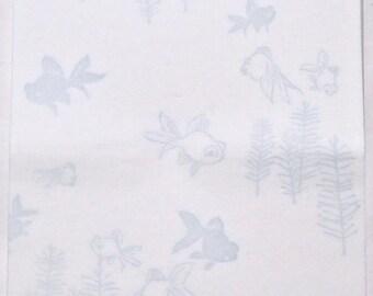 "Japanese Kaishi Paper,  Goldfish ""Kingyo-Demekin"" pattern, light blue, Tool of Tea ceremony for women, unused"