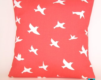 Outdoor Pillow - Salmon and White PILLOW - Modern - Birds In Flight - As Seen on HGTV - Indoor/Outdoor - Premier Prints - Coral Pillow Cover