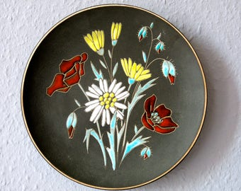 Ruscha wall plate - vintage wall plate - 22 cm - 8.6 in - flowers - Ruscha Germany - german pottery - handpainted - R0091