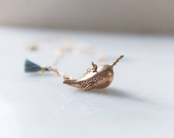 Narwhal Necklace Bronze with Tassel