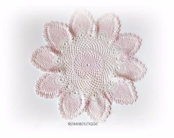Crochet doily, Home decor, White crochet doilies, Pink white crochet doily, table decor, Cotton kitchen decor, home decor