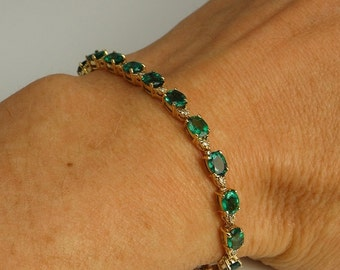 Luxurious Emerald Bracelet Diamond Bracelet Emerald Jewelry 14K Gold Natural Emerald Tennis Bracelet Diamond Tennis Bracelet Green Emerald