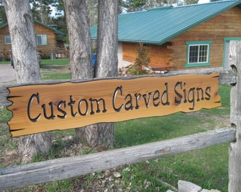 """Personalized Wooden Signs 45"""" x8"""" - Personalized Cabin Signs - Custom Routed Signs - Cedar Sign"""