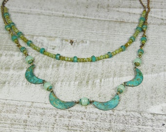 Boho Verdigris Double Strand Necklace with Crescents, Green Opalite and Aqua Czech Beads