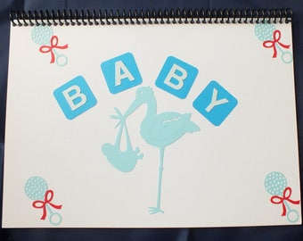 Handmade Decorated A4 Scrapbook Photo Album BABY BOY theme Blue Baby Blocks and Stork
