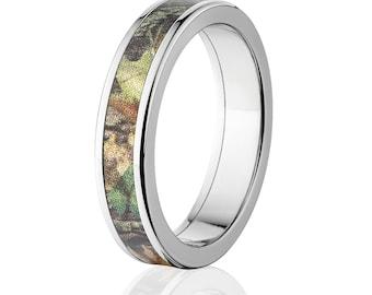 New Mossy Oak New Break Up Camouflage Wedding Band Camo Wedding Ring Mossy Oak NBU Camo Jewelry Camo Ring : 5F-MOSSYAOK-NBU