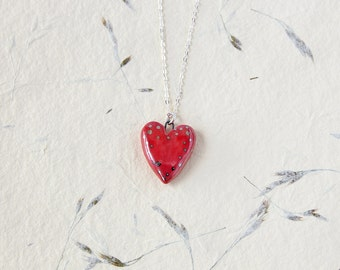 Heart Necklace, Valentine's Gift, Porcelain Pendant, Red Heart Jewelry, 18″ Sterling Silver Chain, Handmade Jewelry, Gift for Her, Gift box