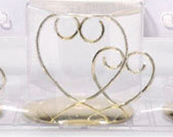 Unity Candle holder set  Double Heart - GOLD  candle holder Unity ceremony wedding decorations  Candle Set