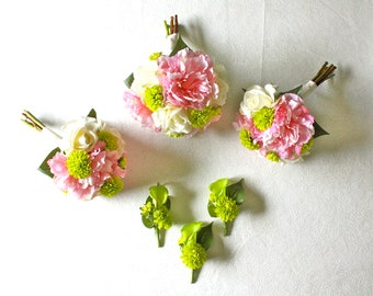Complete Wedding Package, 1 Bride, 2 Bridesmaids, 3 Boutonnieres (Pink Peonies, Ivory Roses, Chartreuse Mums, Real Touch Callas)