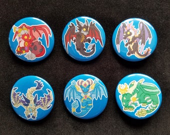 World of Warcraft Dragon Buttons - Alexstrasza - Deathwing - Onyxia - Sindragosa - Tarecgosa - Ysera - Buttons - Dragon Buttons