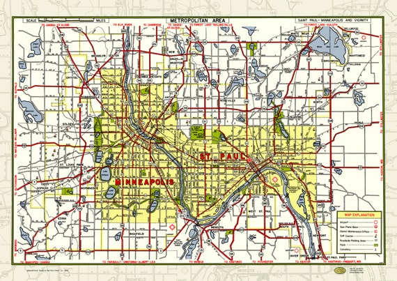 Mpls St Paul MN Twin Cities 1950 Map Poster Vintage Street