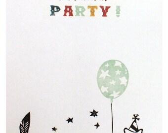 3 Einladungskarten - Let's have a PARTY! - 100% ECO