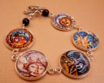 Sun and Moon Bracelet Glass Tile Bracelet Glass Tile Jewelry Celestial Jewelry Beaded Jewelry Moon Bracelet Sun Jewelry