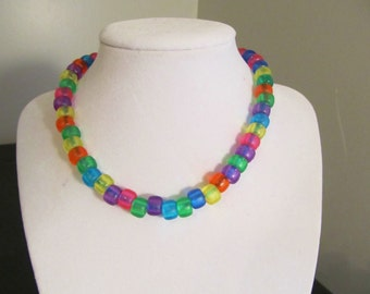 Choker necklace, beaded necklace, Pony beads, Jelly beads, party necklace,