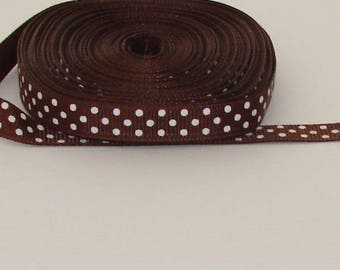 9 m width 10mm white polka dots Ribbon coffee