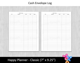 HP Classic: Cash Envelope Log • Budget Binder Printable Page Insert for Happy Planner Classic sized Disc or Ring Bound Planners