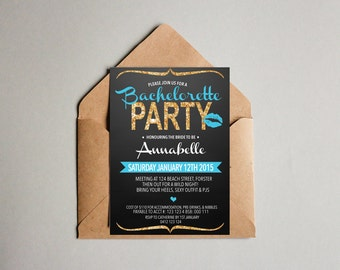 Glitter Blue Black Bachelorette Hen's Party Invitation