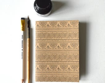 Notebook - A6, RECYCLED, ECO-FRIENDLY, 'tribal pattern'