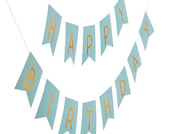 Golden Party Banner / blue and gold banner / happy birthday banner