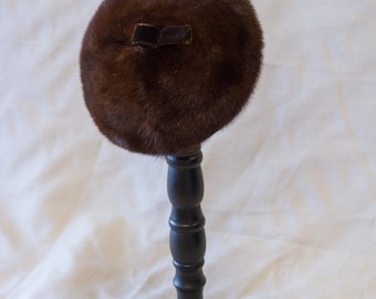 Vintage Chocolate Brown Fur Pillbox Hat - P0637