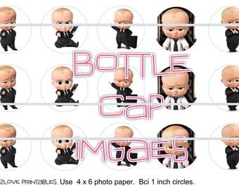 "Boss Baby suit printables  4x6 - 1"" circles, bottle cap images, stickers"