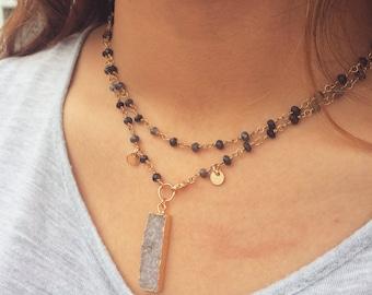 2-Way Druzy Bar Necklace, Druzy Jewelry, Druzy Pendant