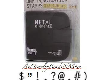 """3mm PUNCTUATION STAMPS with Canvas Case, 1/8"""" Punctuation Stamp Set, jewelry stamping tools, stamps, metal stamps, metal stamping tools"""