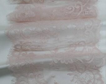Light pink lace Trim, French Lace, Chantilly Lace, Bridal lace, Wedding Lace, Garter lace, Evening dress lace, Lingerie Lace, EVSL096C