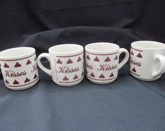 Vintage Hershey Kisses, Set of 4, Hot Chocolate or Coffee  Mugs/Cups.  1980