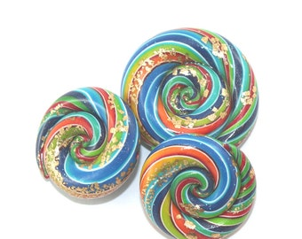 DIY jewelry gift for women, abstract rainbow rolling beads, polymer clay beads snail swirl craft supplies for bracelet & necklace, set of 3