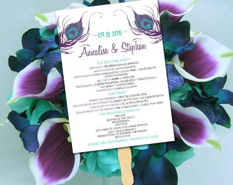 "Single Sided Wedding Program Fan Template - Peacock Ceremony Program ""Peacock Feather"" Eggplant Plumrose Teal - Printable Wedding Favor"