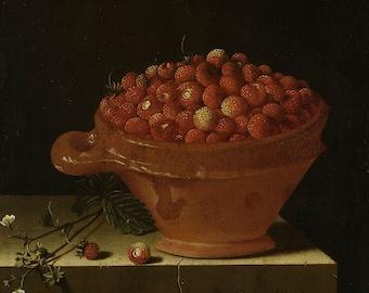 "Adriaen Coorte : ""A Bowl of Strawberries on a Stone Plinth"" (1696) - Giclee Fine Art Print"