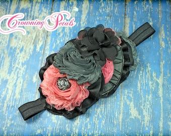 Black, Coral, Grey Hair Accessory, Gray Salmon Headband, Charcoal Coral Pink Hair Clip, Fabric Flower Hair Piece, Dark Grey Hair Accessories