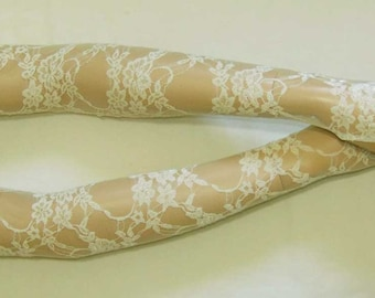Lace,Very Long,Retro,Very light Cream,Romantic,Elegant and Comfortable Armwarmers,Aristocrat,Dance,Sleeves with Thumb Hole.  IDEAL for HER