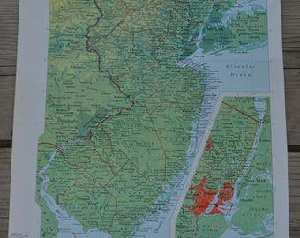 New Jersey State Vintage Map Print