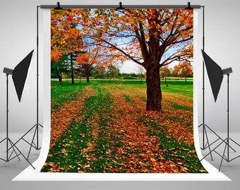 Autumn Maple Tree Leaves Photography Backdrops No Wrinkles Photo Backgrounds for Wedding Studio Props