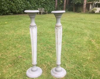 Hand painted large church candle holders