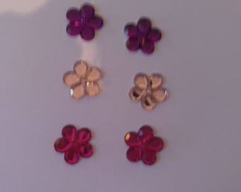 Set of 6 flowers purple pink