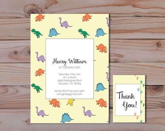 Dinosaur Birthday invitations, Thank you tags, triceratops, stegosaurus, brontosaurus, tyrannosaurus, customizable, printable