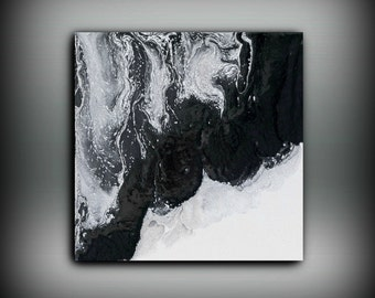 Fine Art Painting, Wall Decor Prints, Canvas Art, Abstract Painting, Black and White Large Wall Art Gift, Abstract Print 8 x 8-20 x 20
