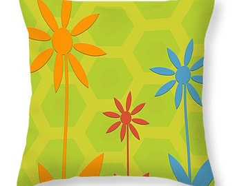 Decorative Throw Pillow yellow green orange red blue geometric design, home decor, accent cushions, dorm decor, colorful home accents
