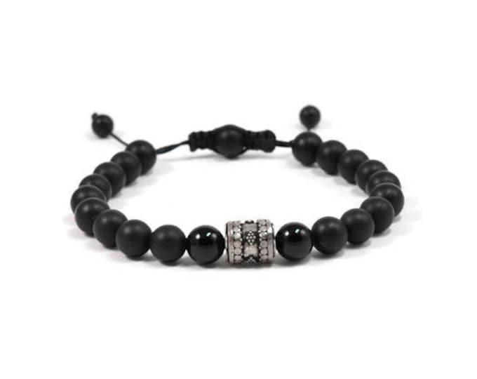 Urban Men's Onyx Pull Tie Single Bracelet. Boho Jewelry. Bohemian Jewelry. Ideas for him. Gift for him.