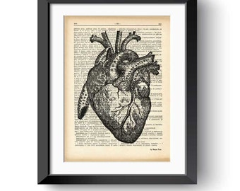 Heart print-Anatomy heart print-dictionary heart print-Heart on book page-Anatomy wall art-medical decor-gift for doctor-NATURA PICTA-DP178