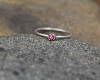 Rhodolite Garnet Bezel Ring - Rhodolite Stacking Ring - Rhodolite Ring - Rhodolite Round Ring - Garnet Stacking Ring - Garnet Bezel Ring