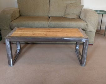 Coffee Table, Solid Pine and Steel