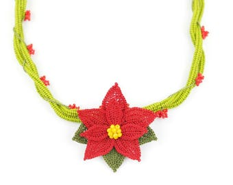 Necklace -Handmade Crochet Beaded Unique Christmas Floral Statement Necklace, Poinsettia Necklace, Crochet Oya Red Flower Jewelry