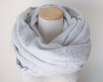 Fleece Infinity Scarf Cowl in GREY HEATHER - Unisex