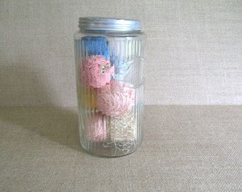 Vintage Ribbed Clear Glass Hoosier Jar with Lid Filled with Cotton Crochet and Tatting Thread Balls