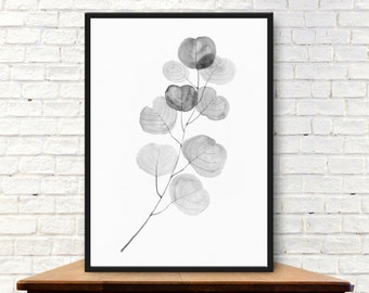 Wall Art Print, printable poster, instant download, a branch of eucalyptus, original watercolor painting, nature, botanical, black and white